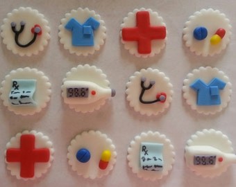 Medical Fondant Cupcake Toppers