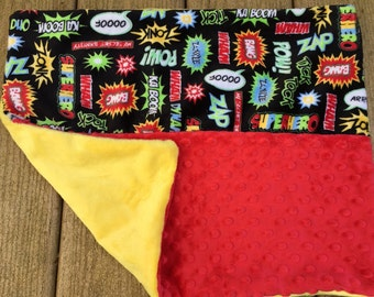Toddler pillow travel pillow plane cusion little kid bed toddler bedding comic book superhero words red and yellow minky washable pillow boy