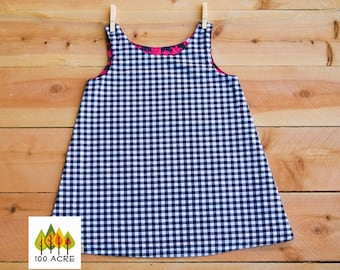 SALE!! Black and white gingham toddler dress. Red Scotti,Scotty dog  reversible A-Line, jumper, Dress
