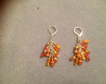 Coral and muted Gold Drop wire wrapped earrings