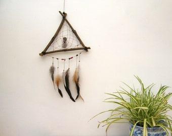 Triangle Dream Catcher, Hippie Wall Decoration, Bohemian Home Decor, with Rainbow Titanium Quartz