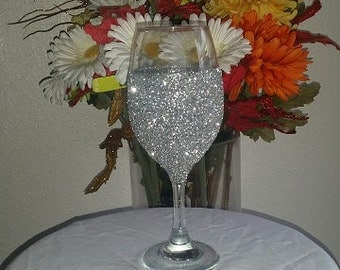 Classy Silver Glitter Wine Glass, Wine Glass, Special Occassion Glass, Wedding Glasses, Glitter Glasses, Custom Made Glasses, Silver Glasses