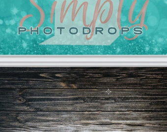 Blue Glitter Bokeh and Dark Wood Floor ALL IN ONE vinyl Photography Backdrop