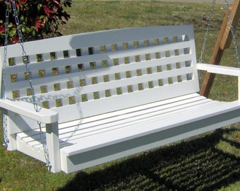Brand New 5 Foot Painted Lattice Style White Porch Swing - with Hanging Chain & Rope - Free Shipping