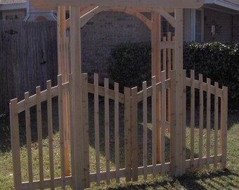 Brand New Decorative Cedar Garden Arbor with Gate and Extensions - Free Shipping