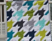Houndstooth Baby Quilt - blue - aqua - green - lime - navy - gray - grey - white - Fox and the Houndstooth backing - crib size quilt