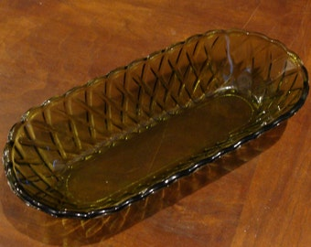 "Vinatage 10.5"" X 5"" pressed glass celery dish"