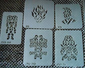 Tiki Gods, Warrior & Face on Fire Stencil Set 22!