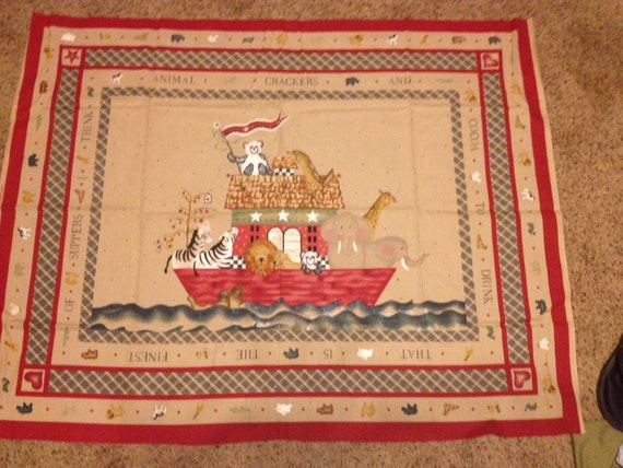 Noah 39 s ark themed baby quilt fabric panel by daisy by for Baby themed fabric
