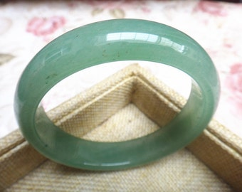 Chinese green jade bangle bracelet dark thin strips