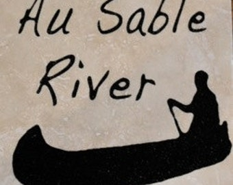 "Set of 4 ""Au Sable River"" Coasters.  Free Shipping."