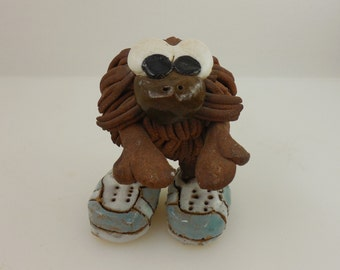 1979 Signed CAP Art Pottery Critter Creature Furry Thing wt Shoes