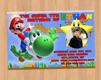 Super Mario and Yoshi Birthday Invitation DIY Printable