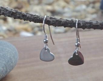 Silver Heart Earrings, fine silver, drop earrings, dangly earrings, silver earrings