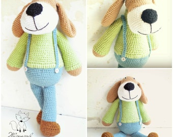 Crochet dog pattern, crochet amigurumi dog pattern, Bradley Dogg, pattern no. 9