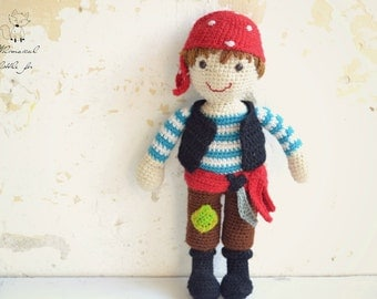 Crochet pattern, crochet pirate pattern, pirate amigurumi, crochet boy pattern, Patrik the pirate, pattern no. 8