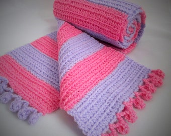 Crochet pink and purple bobble edged scarf
