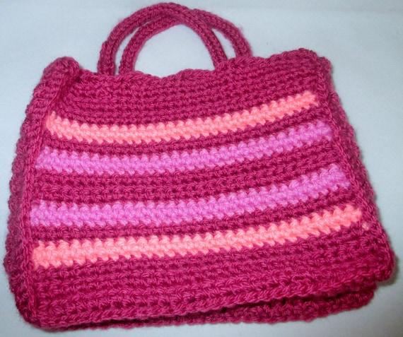 Crochet childs little pink bag