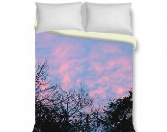 Sunset sky duvet cover blue pink peach black bedding, tree branches duvet cover, king queen duvet cover & shams nature bedroom decor modern