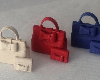 Elegant leather handbag with bow, combined portfolios, handmade, 1/12 scale