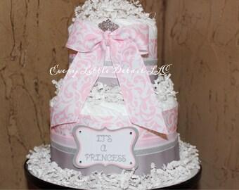 Princess Diaper Cake;Girl Diaper Cake;Princess Theme Baby Shower;Pink and Gray Diaper Cake;Elegant Diaper Cake;Pink Damask Diaper Cake