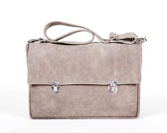 Gray Leather Everyday Bag - Leather Satchel Bag - School Bag, Office Bag- Backpack