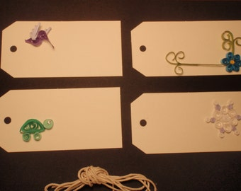 Decorative Quilled Gift Tags— set of 4, various designs
