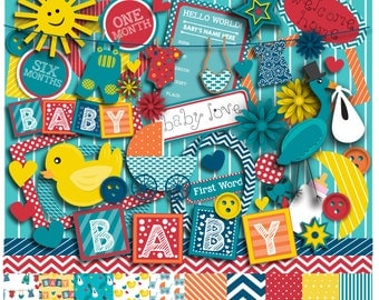 Hello Baby Clip Art in Bright Colors