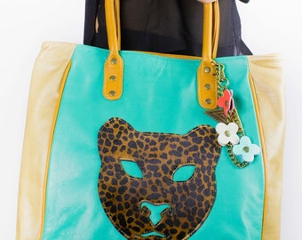 Leather tote, extra large leather bag, with Leopard face decoration in front, shoulder wear, top handle bag. FREE SHIPPING !!!