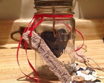 Valentine's Day, Rustic Heart, Vintage Jar