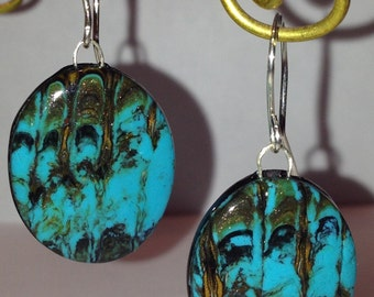 faux turquoise stone and copper spects earrings