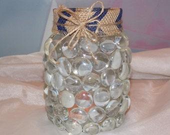 MASON JAR PRISM Candle Holder Vase Clear/Chevron/Stripe Burlap Handmade