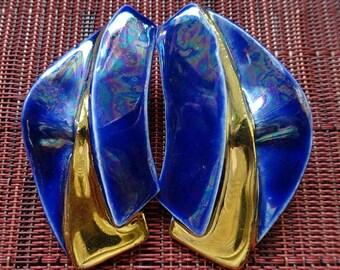 wearable art chunky gold foil dangle earrings