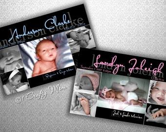 Baby Boy Girl Photo Birth Announcement Photocard Digital Download: Adorable Design- DIY Printable