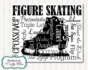 Figure Skating Arts Silhouette Typography Artwork Decor Wall Art Terminology Sign 8x10 Printable Instant Download