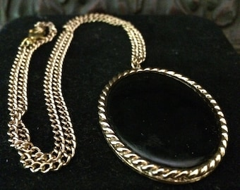"Retro Black Onyx Pendent Large Measuring 1 1/2"" on 10""  Gold Colored Chain"