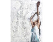 original painting / acrylic on canvas / woman portrait ( Dance #1 ) / 8X6 inches ( 20X15 cm )