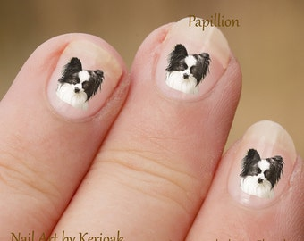 Papillion Nail Art,  Dog Nail Art Stickers, Butterfly Dog Nail Stickers, Fingernail Stickers, Decals, photographic nail art