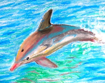 Dolphin Jumping Print - Oil Pastel Painting A5 size