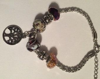 Amber and Purple Tree of Life Bracelet
