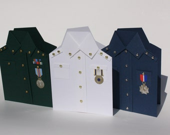 Handcrafted Military Greeting, Blank Card Set of three