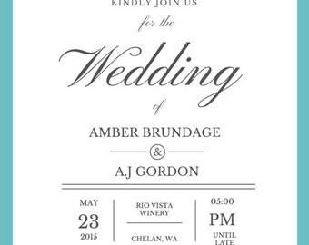 Wedding invitations/pdf/download/customized