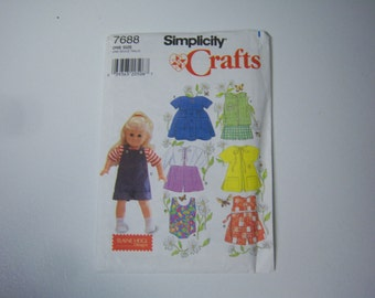 "Simplicity # 7688, 18"" Doll Dress Pattern, American Girl Size Pattern, Clothes Pattern,  Instructions, 1997 Pattern,  Never Used,Made In USA"