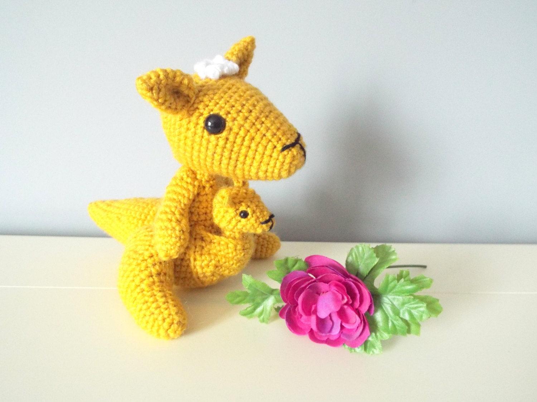 Amigurumi Kangaroo : Crochet Kangaroo toy doll Kangaroo family Amigurumi ...