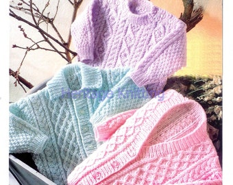 girls cardigan and sweaters dk knitting pattern 99p