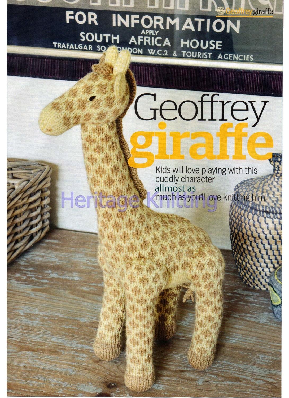 Knitting Pattern Toy Giraffe : giraffe toy dk knitting pattern 99p by Heritageknitting1 on Etsy