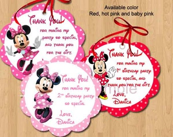Minnie Mouse Favor Tags, Thank You Tags, Bag Tags, Sticker. Digital (you print)