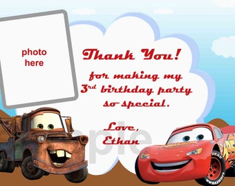 Disney Cars Thank You Card (Note). Digital (you print)