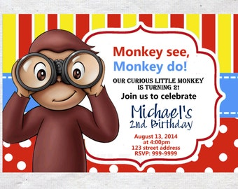 Curious George Birthday invite,Curious George invite,JPG file,Invite,Birthday Invite,Curious George, Curious George Birthday Invitation