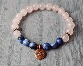 Yoga jewelry, natural Rose quartz bracelet, Lotus, sodalite, healing crystals and stones, Love, Nature and Self-trust